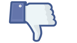 Thumbs down on a Facebook dislike button.